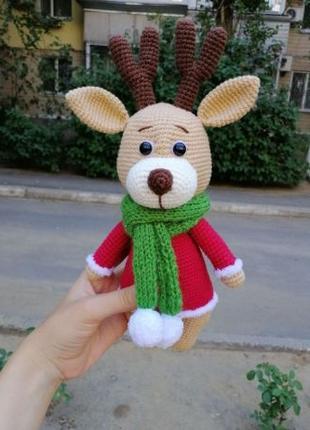 Новогодний олень, вязаная игрушка, ручная работа, подарок ребенку