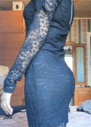 Нарядное черное платье, кружевное