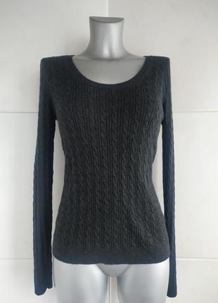 Базовый свитер uniqlo с узором косы серого цвета
