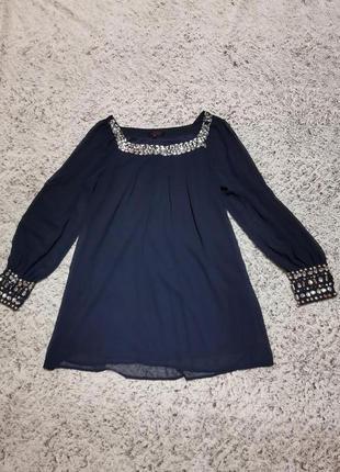 Блузка нарядная, блузка синяя