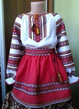 Вышиванка для девочки, вишитий костюм рост 122