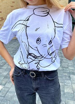 Белая футболка с принтом дамбо 6962