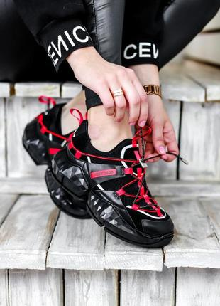Стильные женские кроссовки jimmy choo diamond trail black red ...