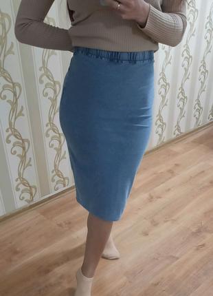 New look джинсовая миди юбка