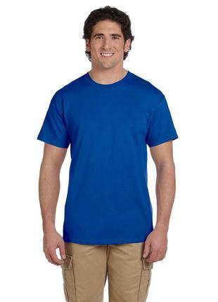 L/50р. качественная футболка мужская синяя хлопок