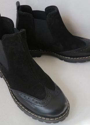 Женские черные челси оксфорд ботинки натуральная кожа весна осень