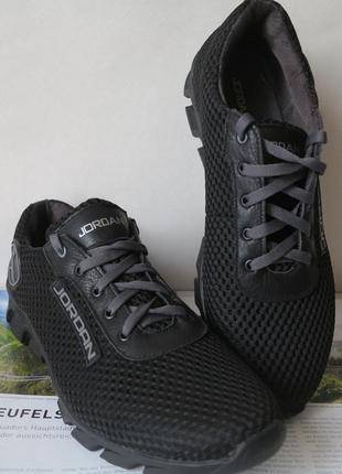 Jordan! летние черные мужские подростковые кроссовки сетка кожа