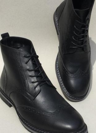 Мужские броги оксфорд на шнуровке натуральная кожа ботинки дем...