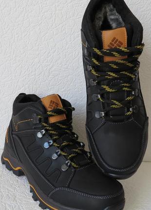 Детские или подростковые кожаные зимние ботинки с мехом