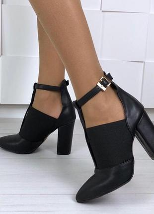Туфли женские с резинкой на каблуке 10 см натуральная  кожа! б...
