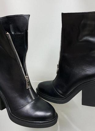 Ботинки женские натуральная кожа! змейка  удобный широкий кабл...
