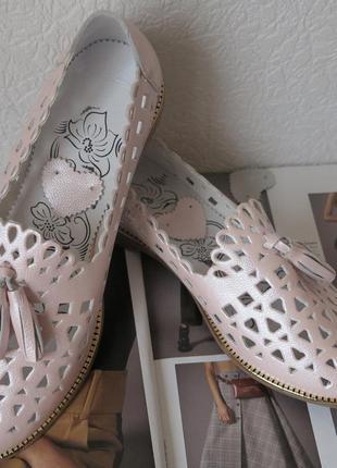 Стильные женские летние кожаные балетки туфли натуральная кожа...