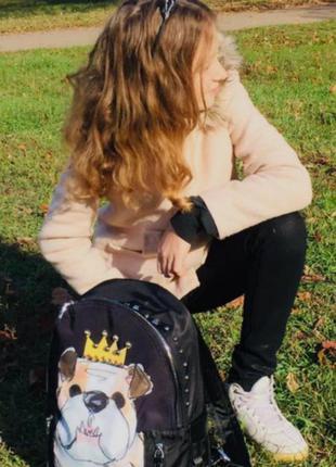 Рюкзак super lux  цветной принт собака дольче габбана сумка лю...