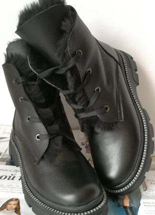 Ботинки зимние женские! на шнуровке из натуральной кожи , внут...
