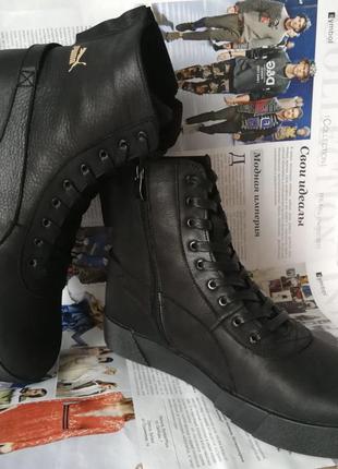 Puma хит! мужские зимние кожаные кеды высокие кроссовки ботинк...