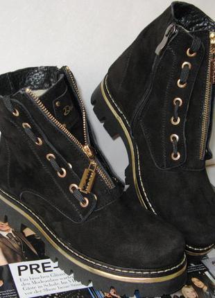 Женские черные сапоги ботинки натуральная замша pp