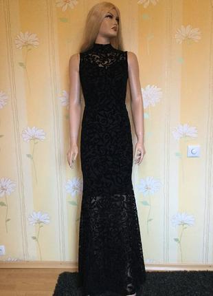 Платье вечернее в пол напыление бархат на фатине sobe размер m