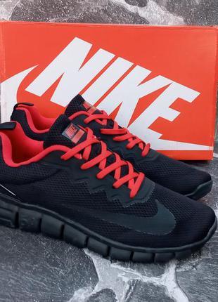 Мужские кроссовки nike free run 5.0 сетка,черные,летние