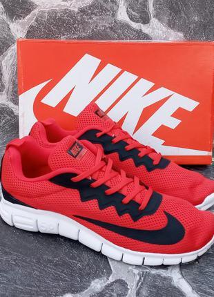Мужские кроссовки nike free run 5.0 красные,сетка,летние