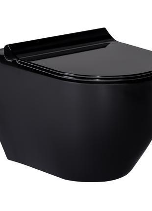 Унитаз подвесной VOLLE BLACK AMADEUS + сиденье твердое Slim.