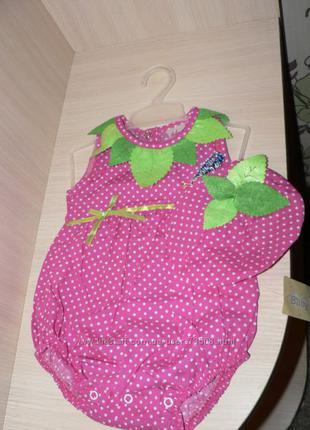 Новый бодик для новорожденной клубничка с панамкой и браслетом