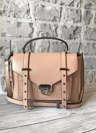 Женская кожаная сумка 🔥люкс качество🔥цвет пудра