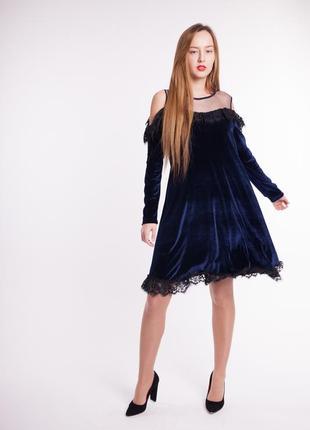 Роскошное платье с синего бархата ( велюрам ) 36 , 38, 42 размеры