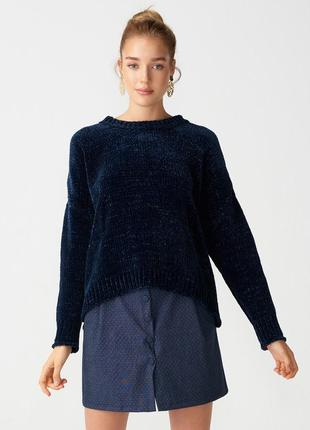 Темно-синий плюшевый бархатный свитер { кофточка} очень мягкая...