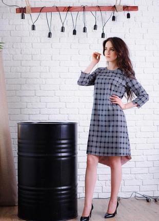 Платье-трапеция принт клетка с четвертным рукавом