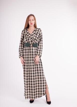 Длинное платье в пол принт клетка зеленного цвета с поясом 201...