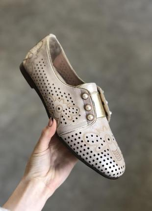 Кожаные туфли с перфорацией бежевого оттенка (подойдут на любо...
