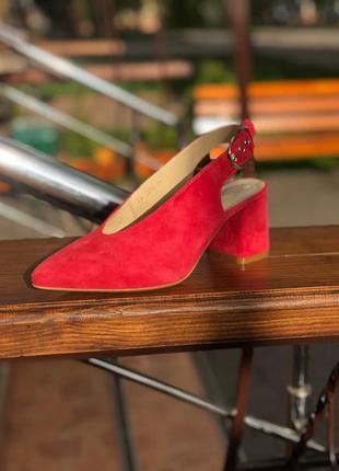 Туфли (лодочки) каблуке с натуральной замши с открытой пяткой ...