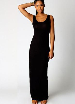 Трикотажное черное платье майка в пол