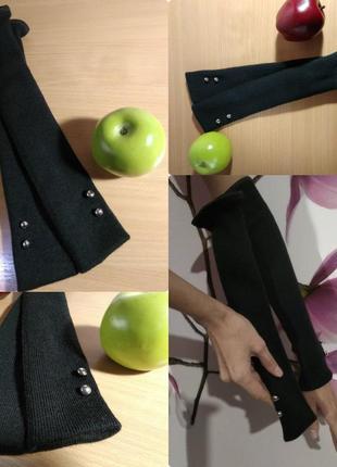 🎀 теплые двойные длинные митенки черные перчатки без пальцев п...