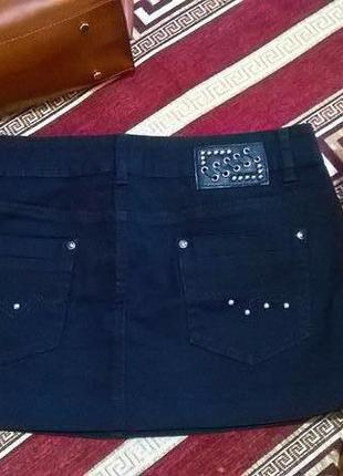 Юбка джинсовая мини короткая черная basic спідниця міні джинс