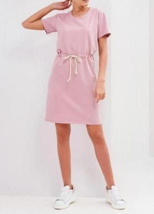 Платье футболка цвет пудра