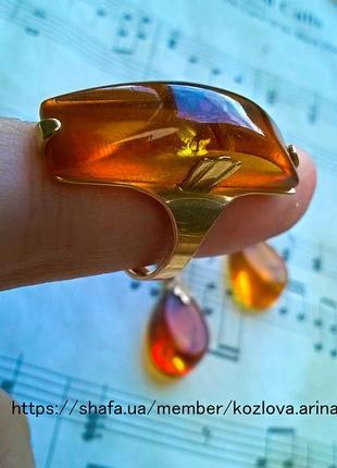 Набор в стиле ретро винтаж кольцо серьги золото янтарь украшение