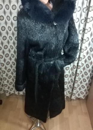 Шуба женская пальто меховое с разрезами, капюшоном
