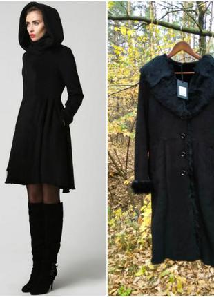 Дубленка пальто зимнее женское миди с капюшоном классика mishy...