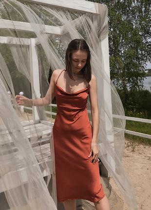 Платье комбинация slip dress в бельевом стиле из шелк сатин вечер