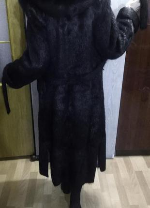 Шуба легкая, на запах, длинное меховое пальто нутрия натуральн...