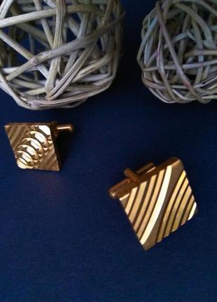 Роскошные запонки на рубашку бижутерия винтаж под золото унисекс