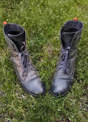 Ботинки сапоги женские берцы кожаные crazy horse зимние на шну...