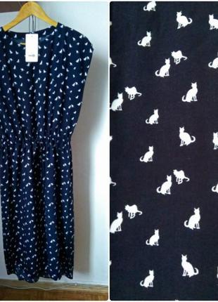 Платье рубашка oversize мидакси свободный крой принт коты, дли...