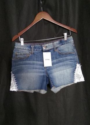 Джинсовые шорты юбка old school s m крутой мраморный цвет женс...