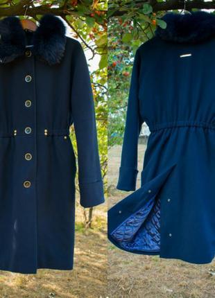 Зимнее пальто женское на утеплителе свободный крой шерстяное п...