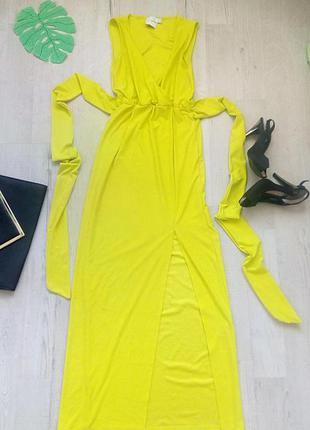 Шикарное длинное салатовое платье на выпускной, свадьбу с разр...