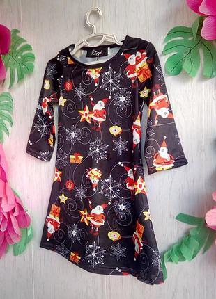 Платье на новый год фотосессию на малышку 1,5-2 года с принтом...