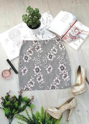 Юбка мини серая розовая фирменная серо розовая с цветами