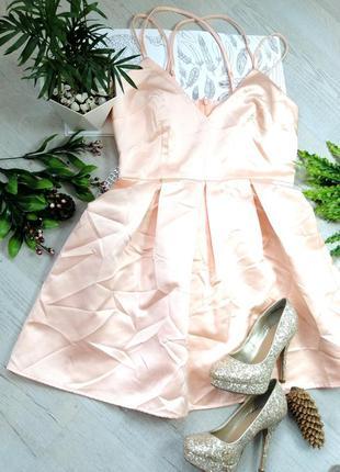Шикарное сексуальное вечернее выпускное платье персикового цвета